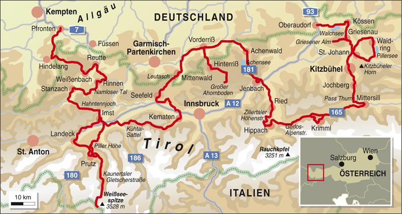 Karte Tirol.Karte Tirol Italien Kleve Landkarte
