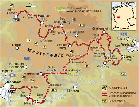 westerwald karte Traumstraßen Westerwald Info/Karte: TOURENFAHRER ONLINE westerwald karte