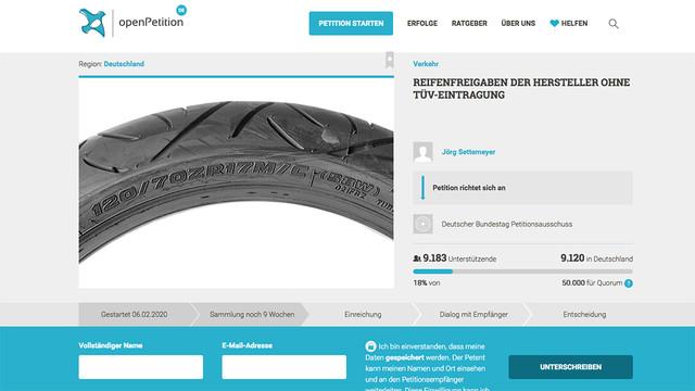 Petition gegen Reifeneintragung
