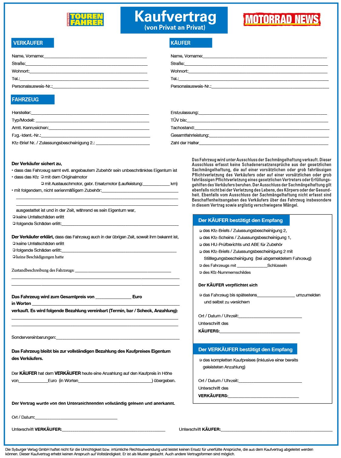 Kaufvertrag für ein gebrauchtes Kraftfahrzeug (von Privat an Privat)